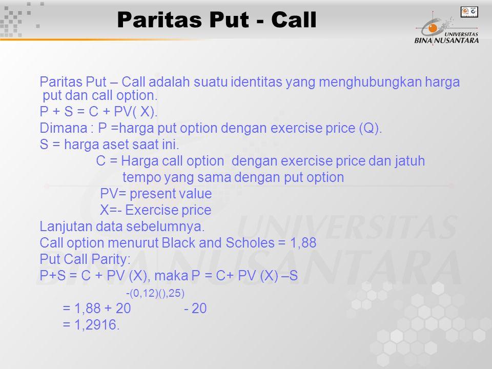 Paritas Put - Call Paritas Put – Call adalah suatu identitas yang menghubungkan harga put dan call option.