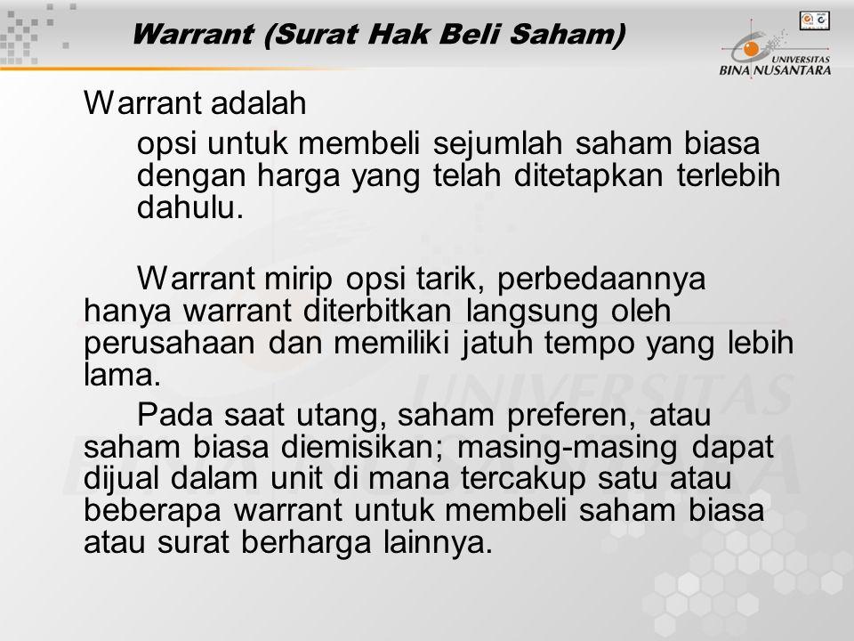 Warrant (Surat Hak Beli Saham)