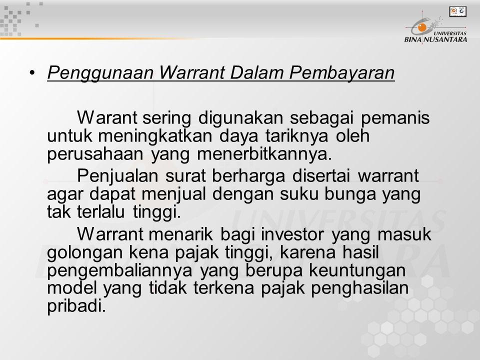 Penggunaan Warrant Dalam Pembayaran