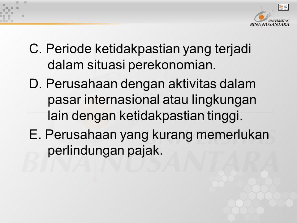 C. Periode ketidakpastian yang terjadi dalam situasi perekonomian.
