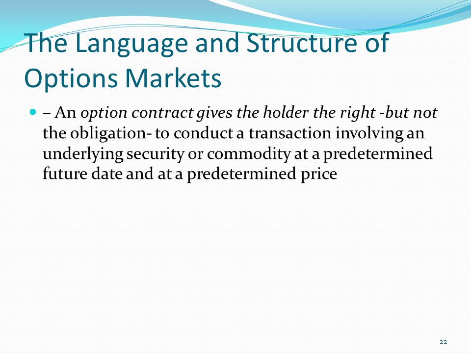 The Language and Structure of Options Markets