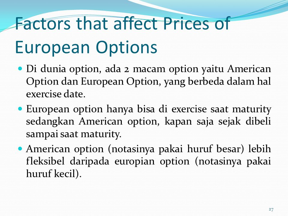 Factors that affect Prices of European Options