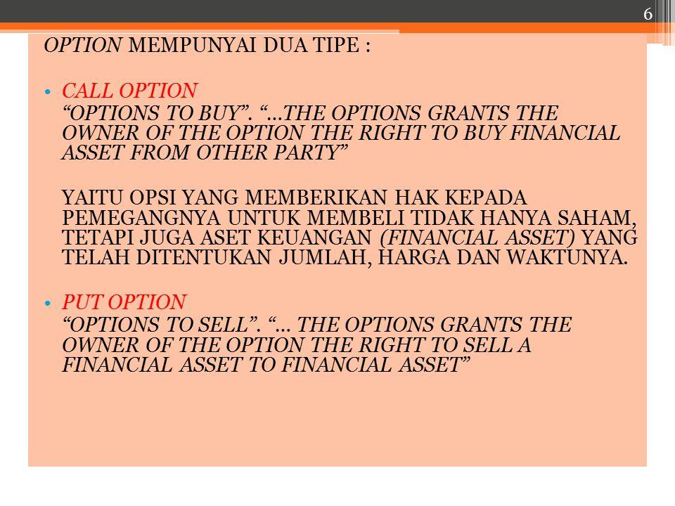 OPTION MEMPUNYAI DUA TIPE :