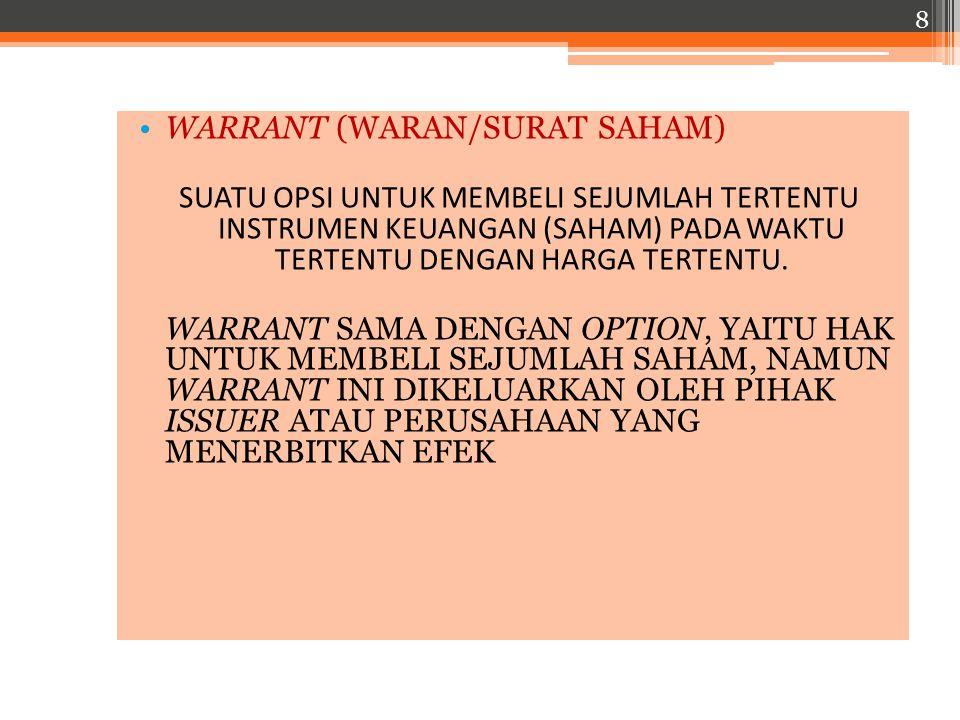 WARRANT (WARAN/SURAT SAHAM)