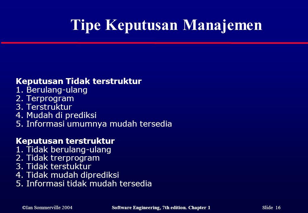 Tipe Keputusan Manajemen