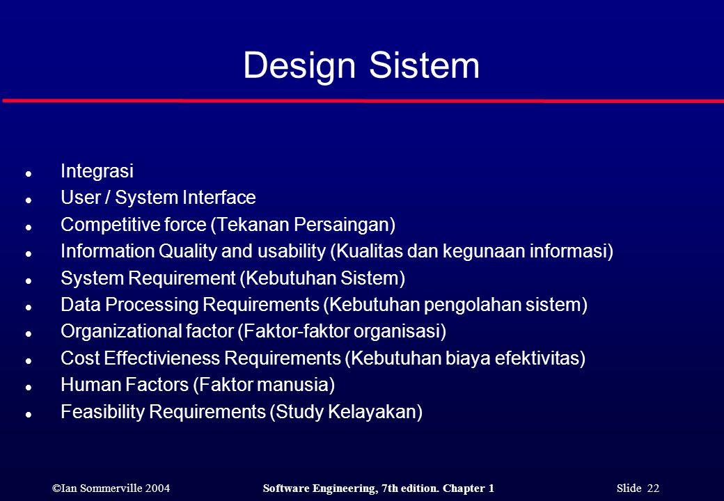 Design Sistem Integrasi User / System Interface
