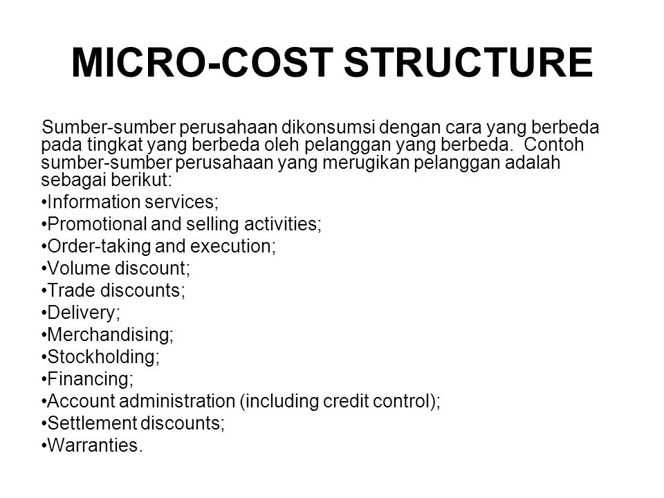 MICRO-COST STRUCTURE