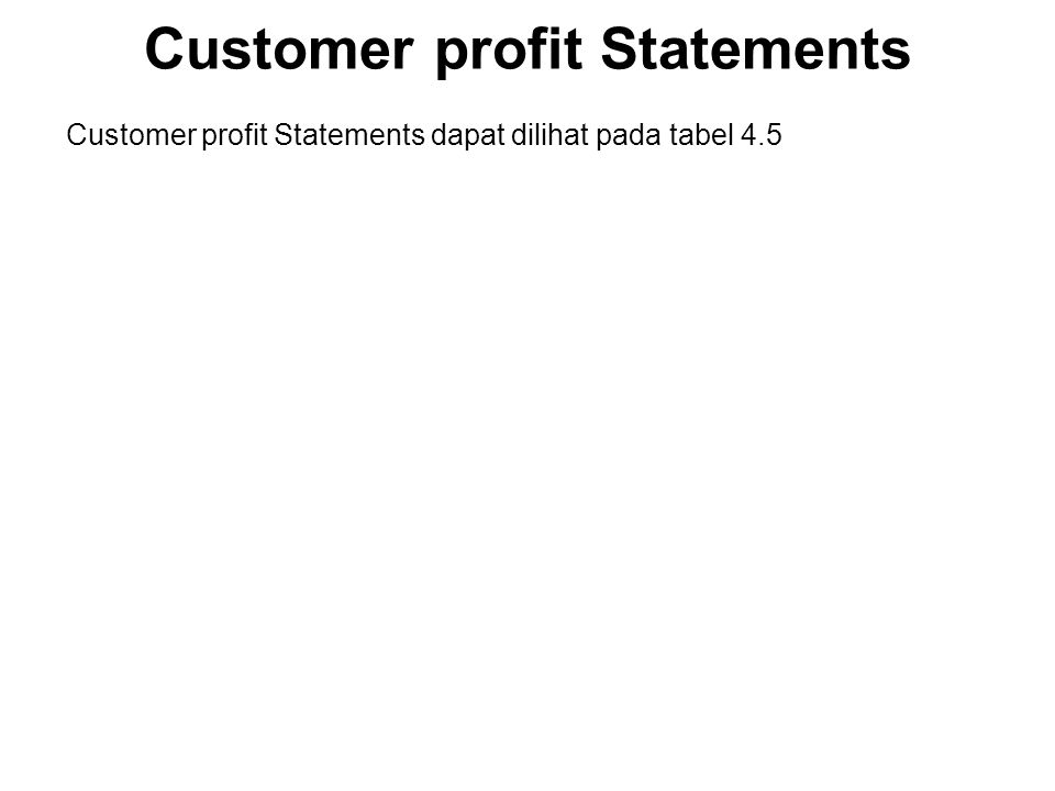 Customer profit Statements