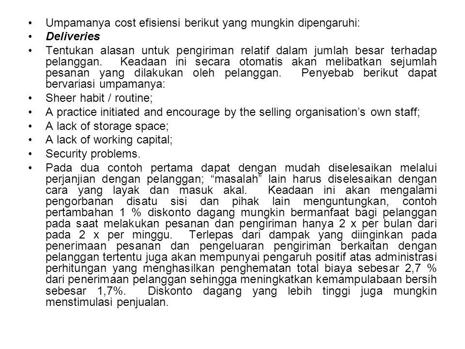 Umpamanya cost efisiensi berikut yang mungkin dipengaruhi: