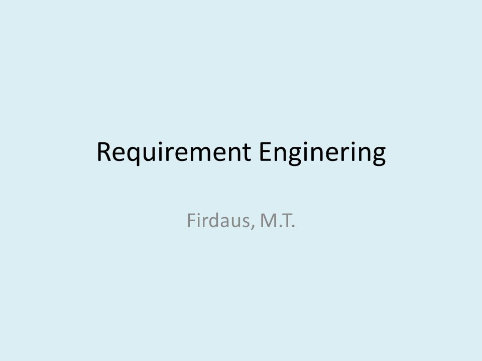 Requirement Enginering