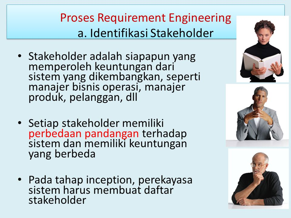 Proses Requirement Engineering a. Identifikasi Stakeholder