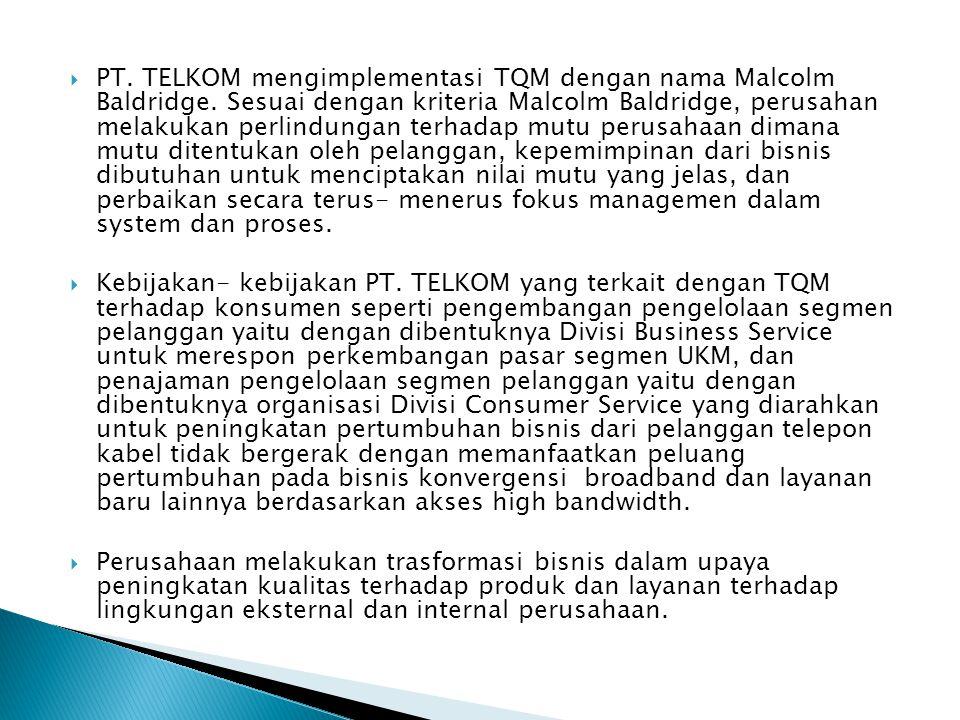 PT. TELKOM mengimplementasi TQM dengan nama Malcolm Baldridge