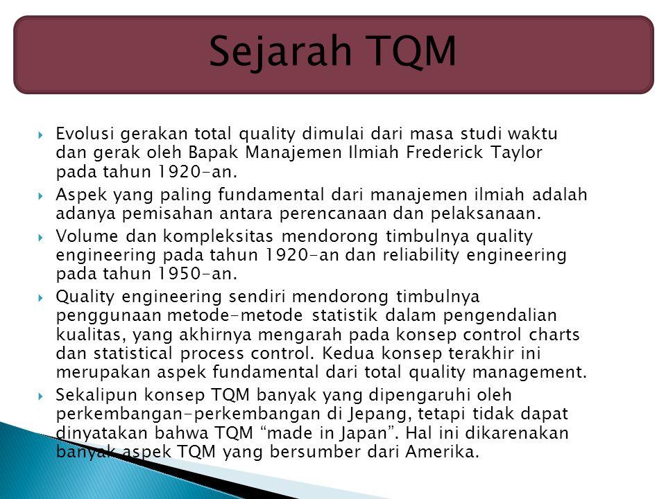 Sejarah TQM Evolusi gerakan total quality dimulai dari masa studi waktu dan gerak oleh Bapak Manajemen Ilmiah Frederick Taylor pada tahun 1920-an.