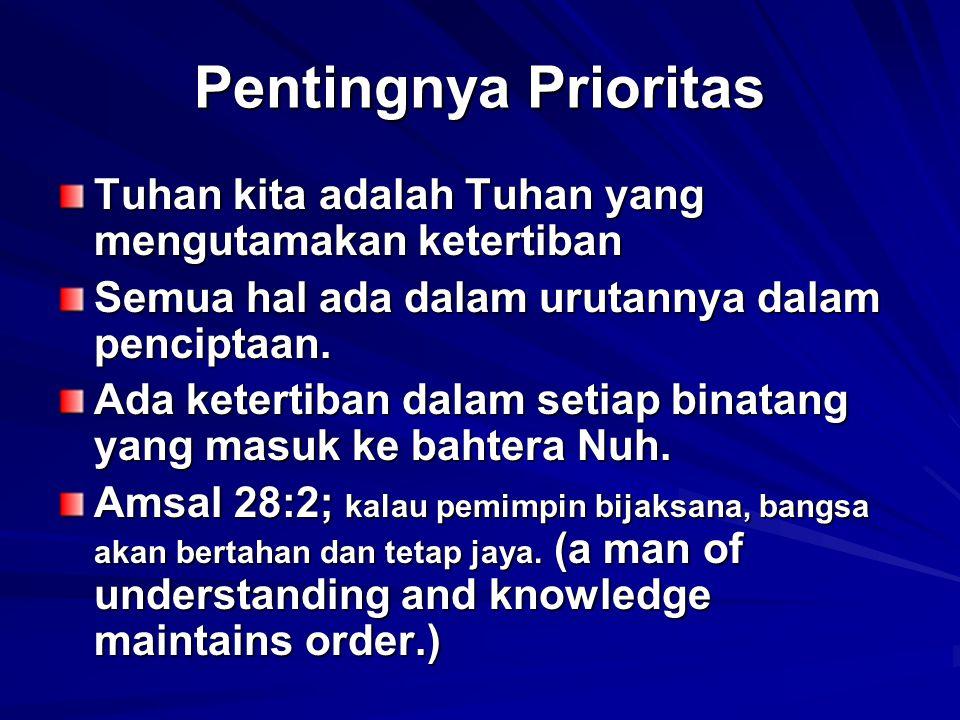 Pentingnya Prioritas Tuhan kita adalah Tuhan yang mengutamakan ketertiban. Semua hal ada dalam urutannya dalam penciptaan.