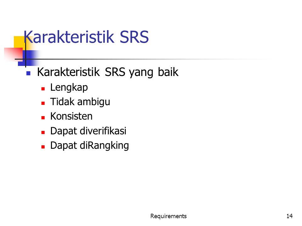 Karakteristik SRS Karakteristik SRS yang baik Lengkap Tidak ambigu