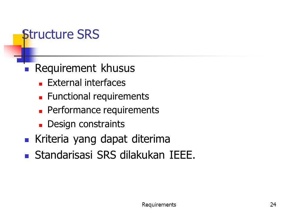 Structure SRS Requirement khusus Kriteria yang dapat diterima
