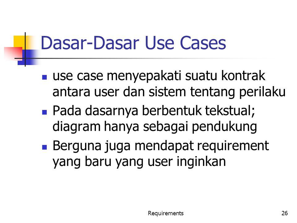 Dasar-Dasar Use Cases use case menyepakati suatu kontrak antara user dan sistem tentang perilaku.