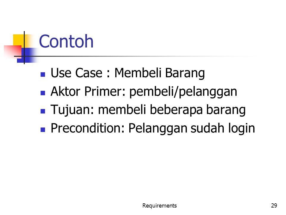Contoh Use Case : Membeli Barang Aktor Primer: pembeli/pelanggan