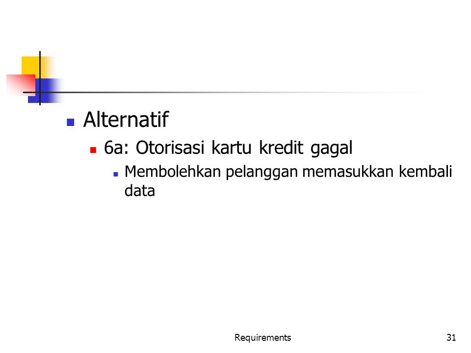 Alternatif 6a: Otorisasi kartu kredit gagal