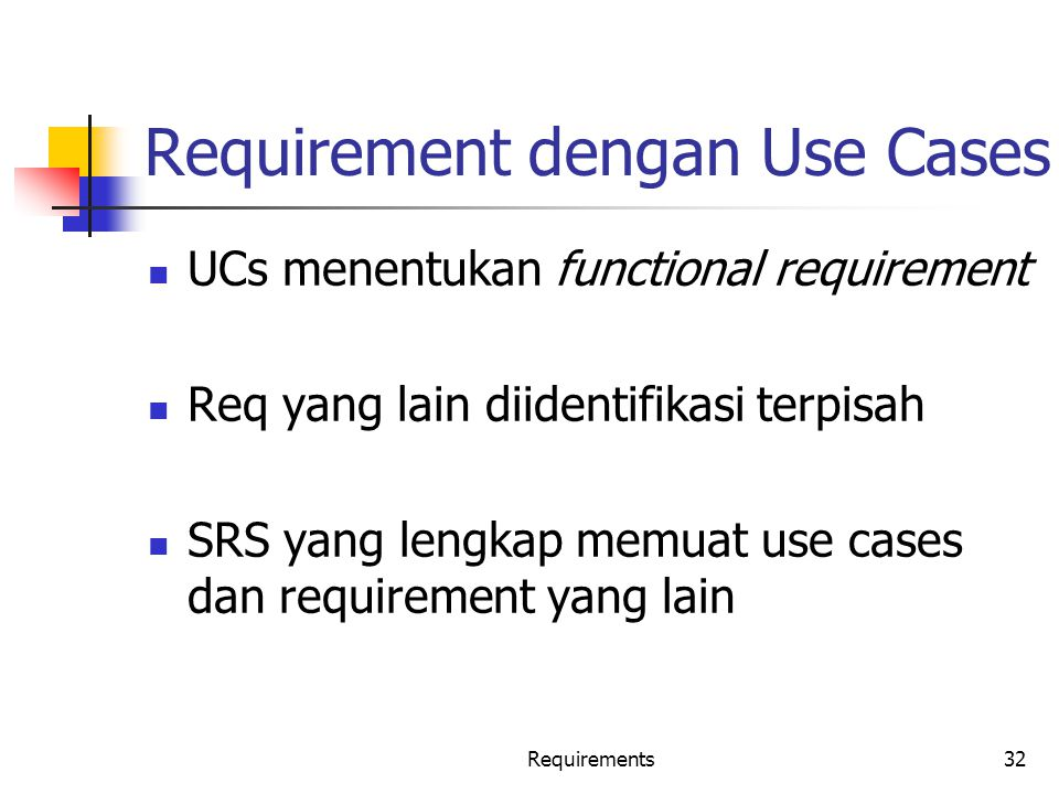 Requirement dengan Use Cases