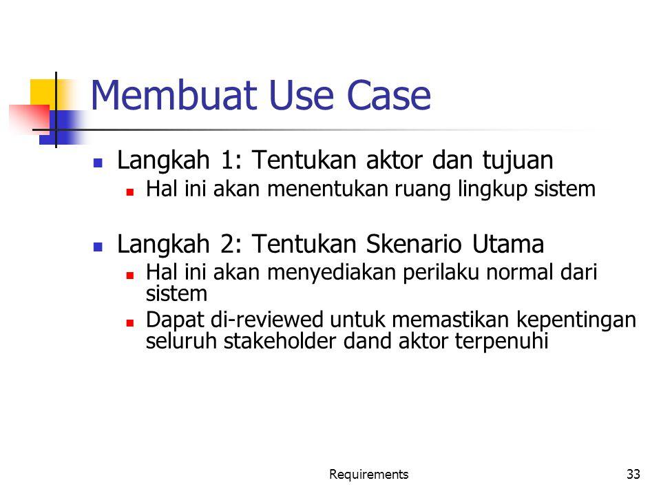 Membuat Use Case Langkah 1: Tentukan aktor dan tujuan