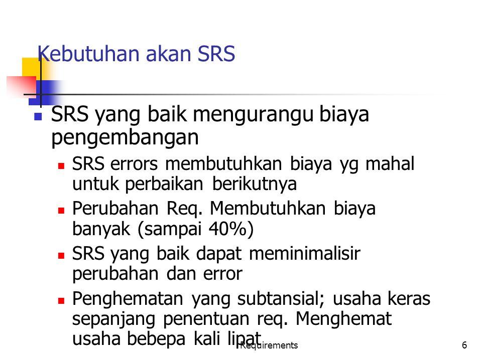SRS yang baik mengurangu biaya pengembangan