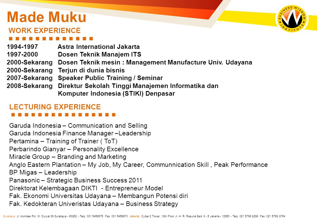 Made Muku WORK EXPERIENCE LECTURING EXPERIENCE