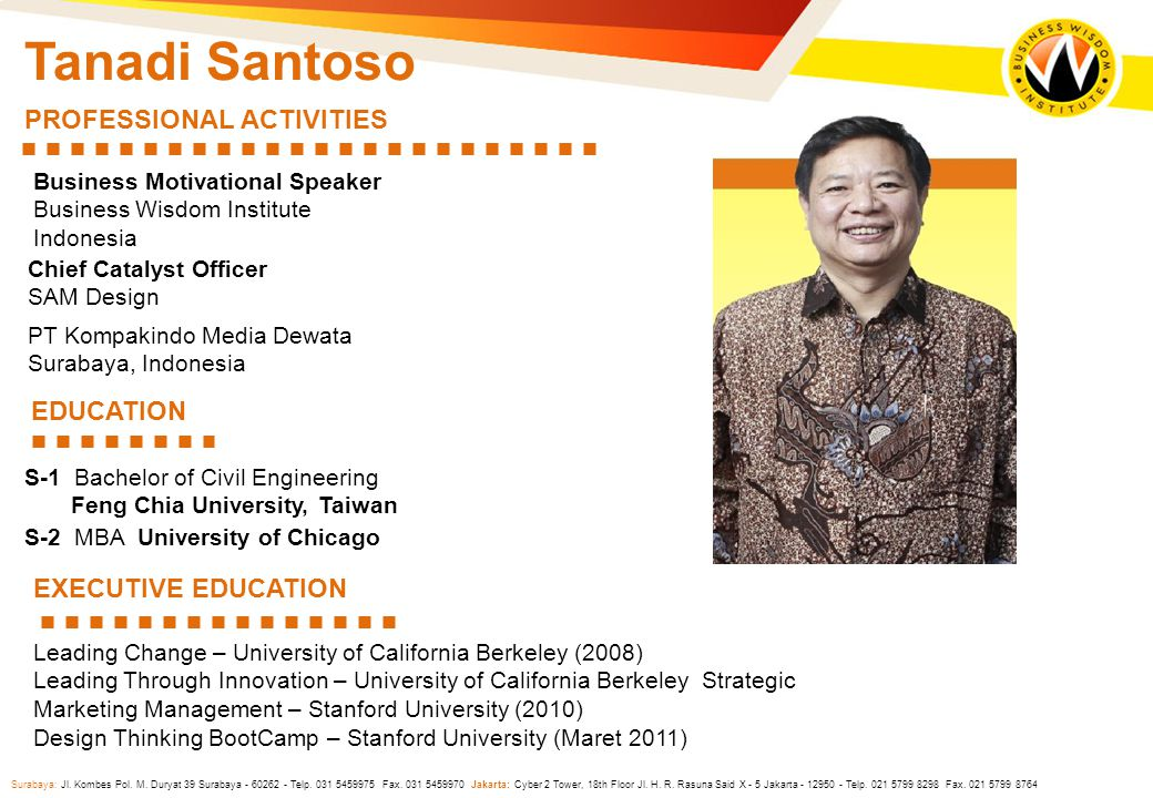 Tanadi Santoso PROFESSIONAL ACTIVITIES EDUCATION EXECUTIVE EDUCATION
