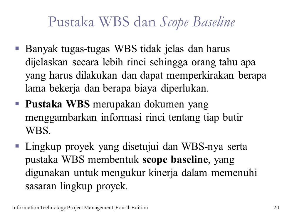 Pustaka WBS dan Scope Baseline