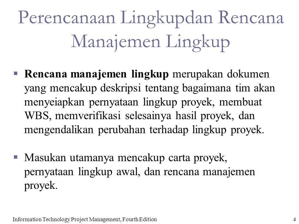 Perencanaan Lingkupdan Rencana Manajemen Lingkup