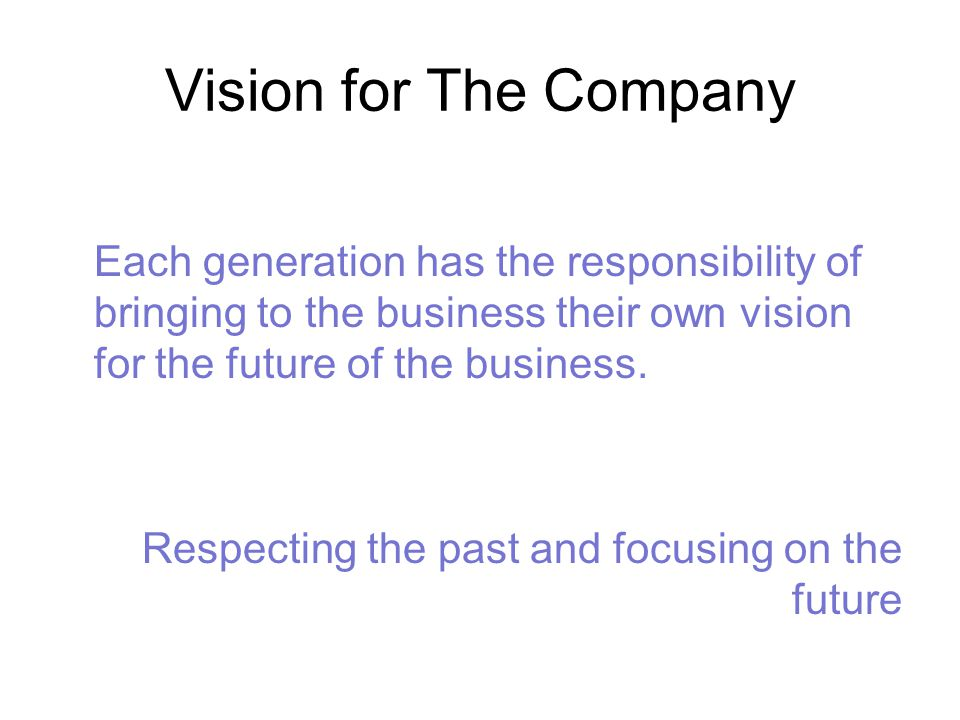Vision for The Company