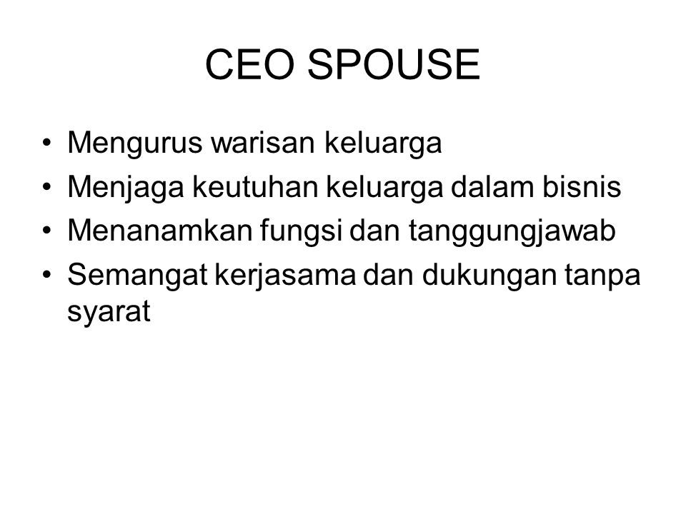 CEO SPOUSE Mengurus warisan keluarga