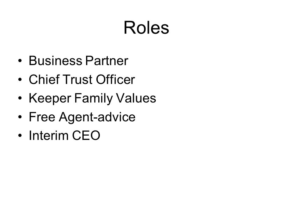Roles Business Partner Chief Trust Officer Keeper Family Values