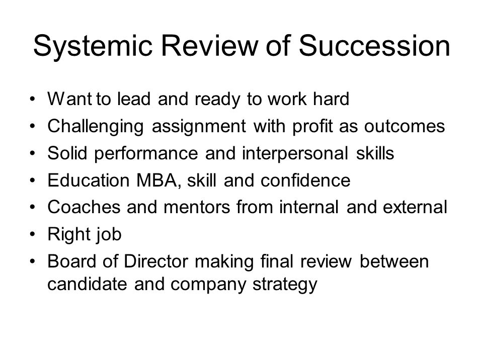 Systemic Review of Succession