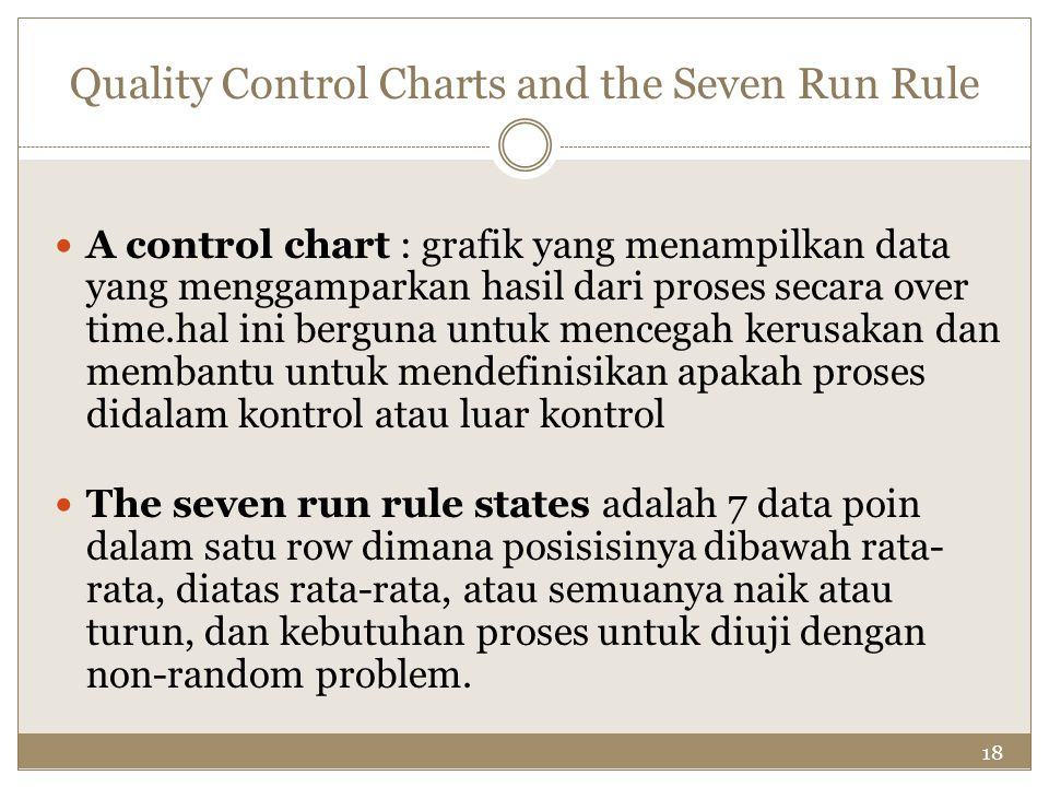 Quality Control Charts and the Seven Run Rule