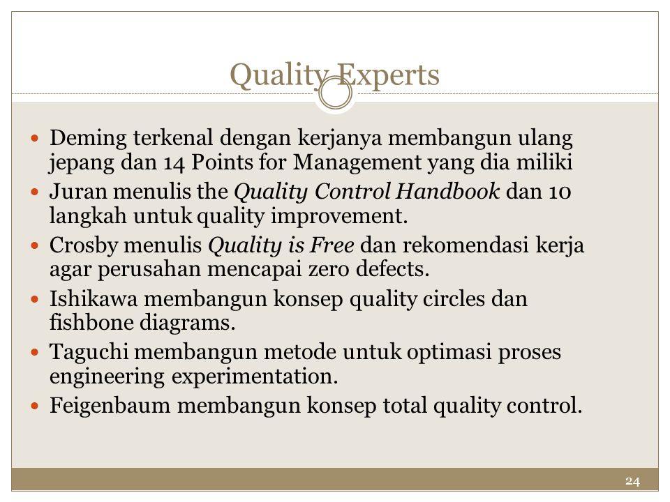 Quality Experts Deming terkenal dengan kerjanya membangun ulang jepang dan 14 Points for Management yang dia miliki.