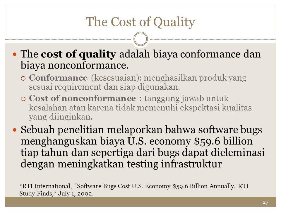 The Cost of Quality The cost of quality adalah biaya conformance dan biaya nonconformance.
