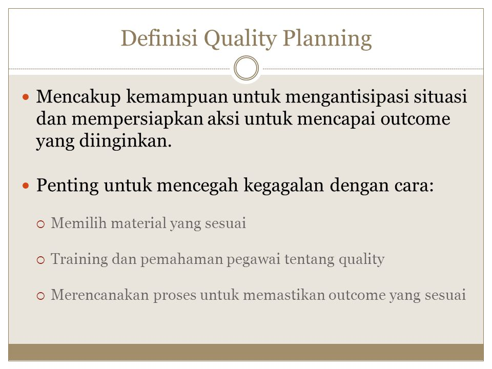 Definisi Quality Planning