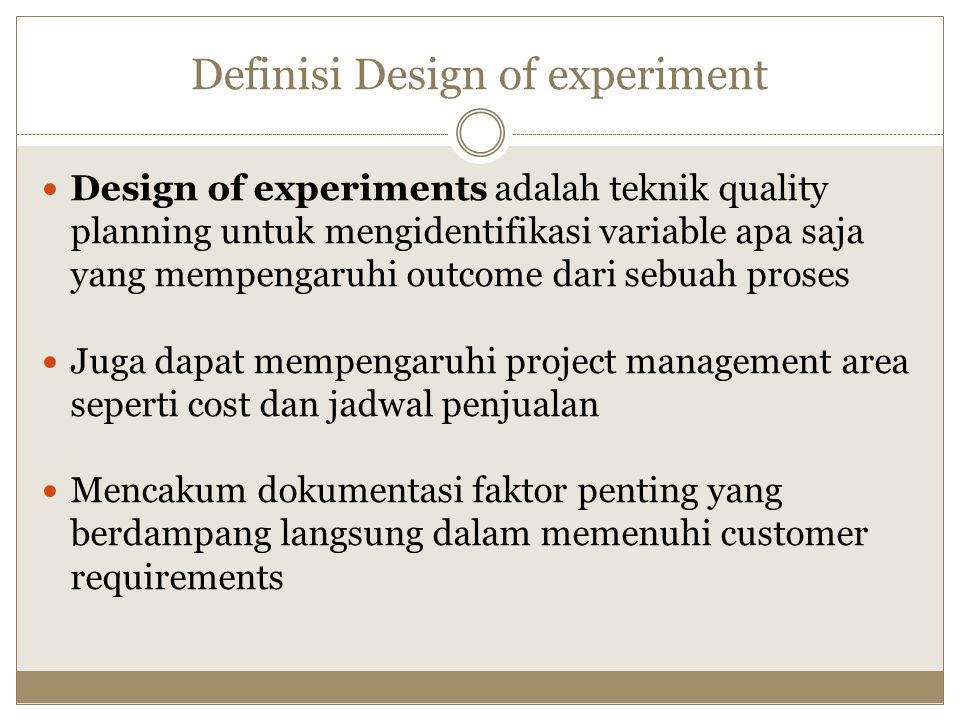 Definisi Design of experiment