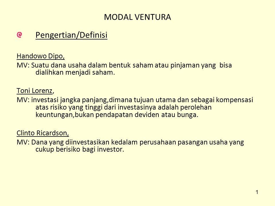 MODAL VENTURA Pengertian/Definisi Handowo Dipo,