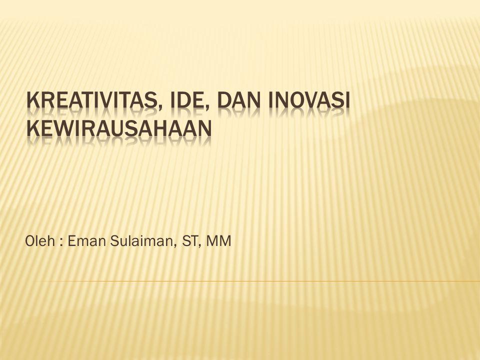 Kreativitas, IDE, dan INOVASI Kewirausahaan