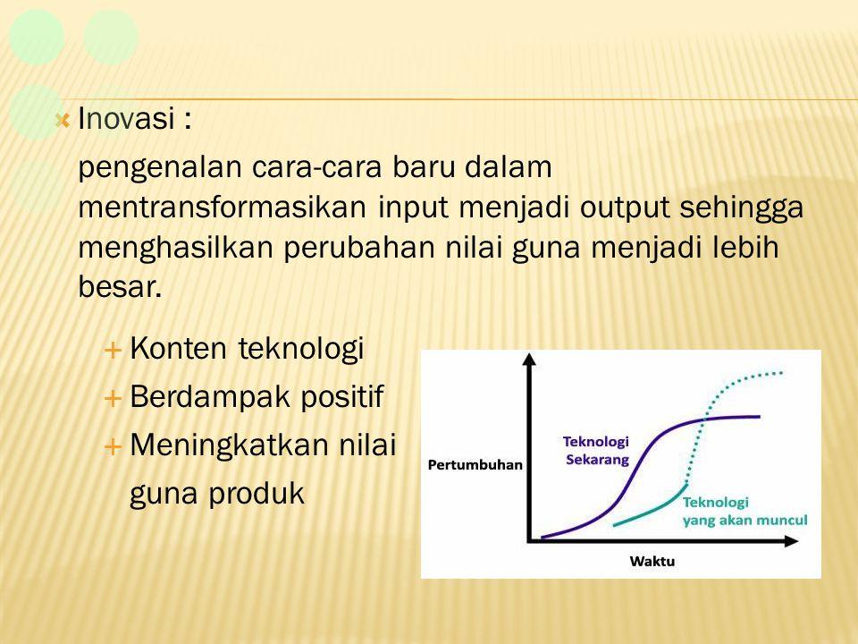 Inovasi : pengenalan cara-cara baru dalam mentransformasikan input menjadi output sehingga menghasilkan perubahan nilai guna menjadi lebih besar.
