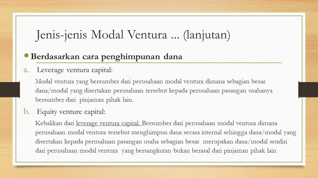 Jenis-jenis Modal Ventura ... (lanjutan)