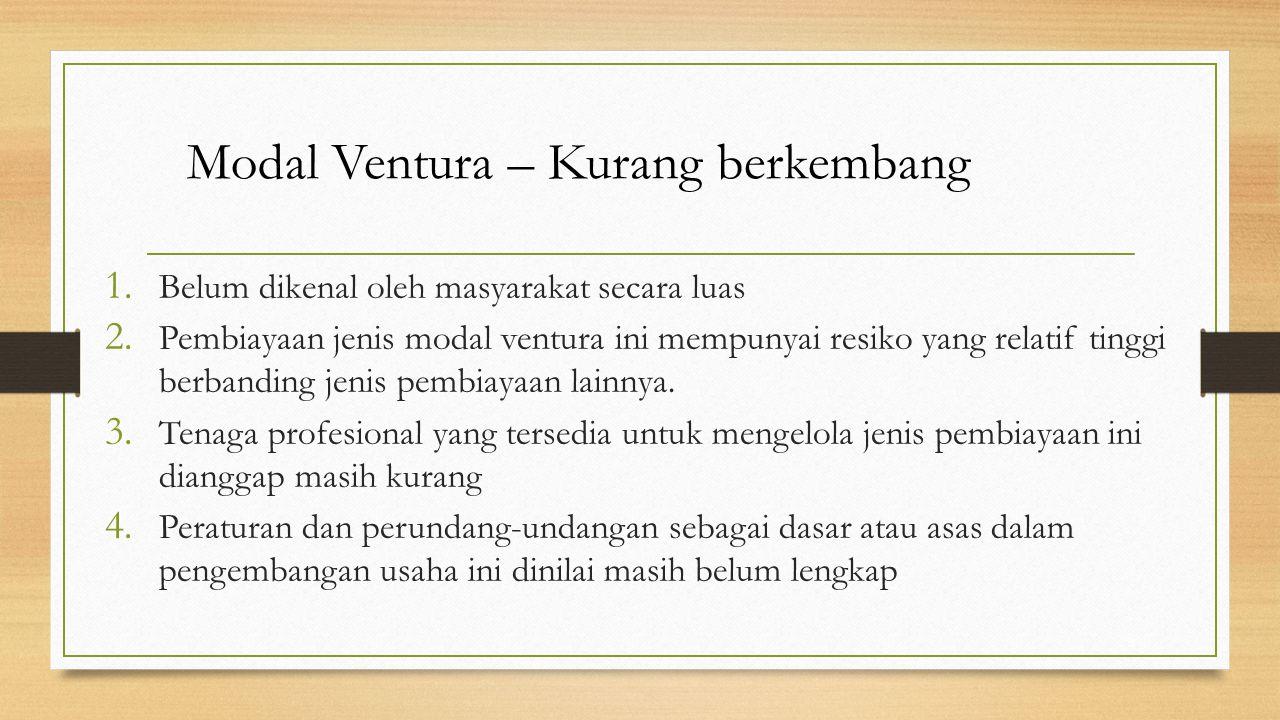 Modal Ventura – Kurang berkembang