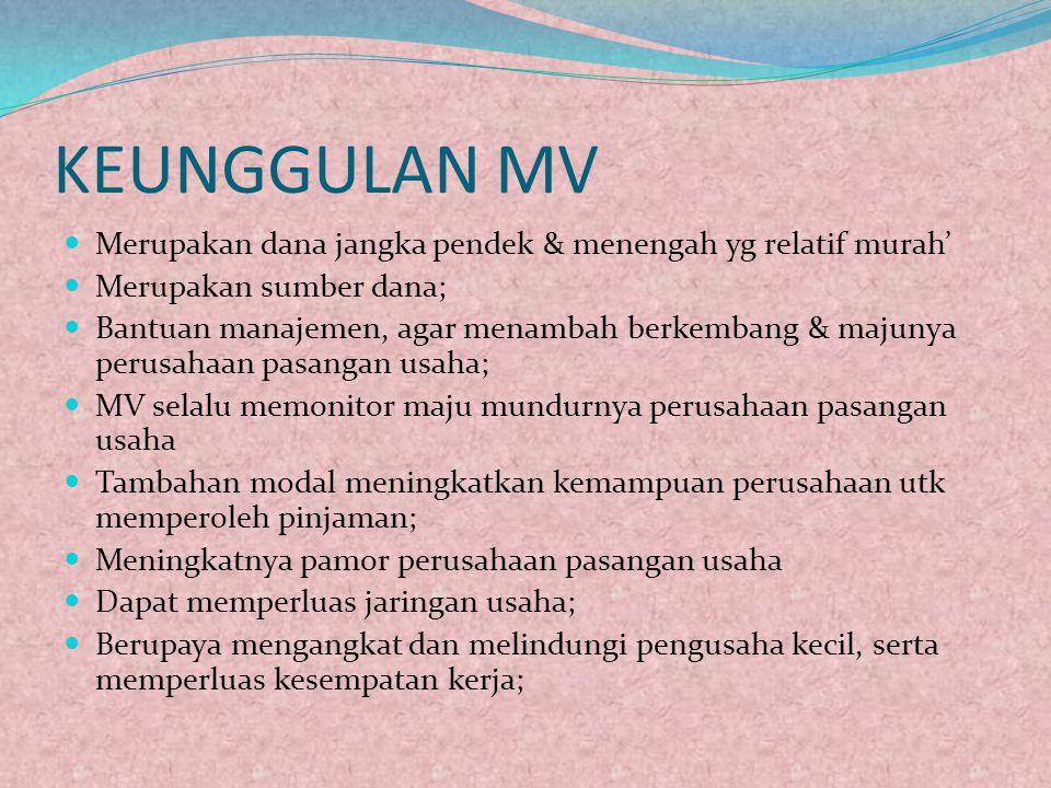 KEUNGGULAN MV Merupakan dana jangka pendek & menengah yg relatif murah' Merupakan sumber dana;