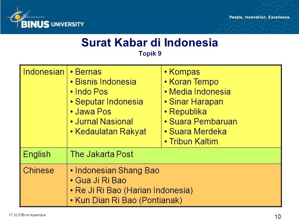 Surat Kabar di Indonesia Topik 9