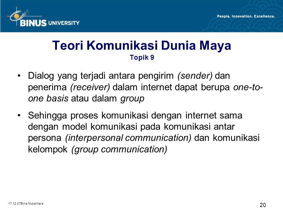 Teori Komunikasi Dunia Maya Topik 9