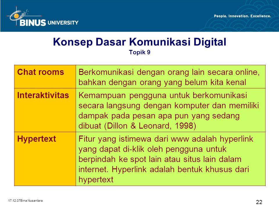 Konsep Dasar Komunikasi Digital Topik 9