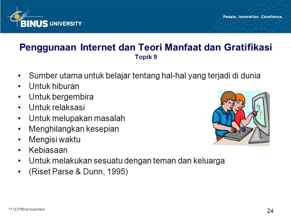 Penggunaan Internet dan Teori Manfaat dan Gratifikasi Topik 9