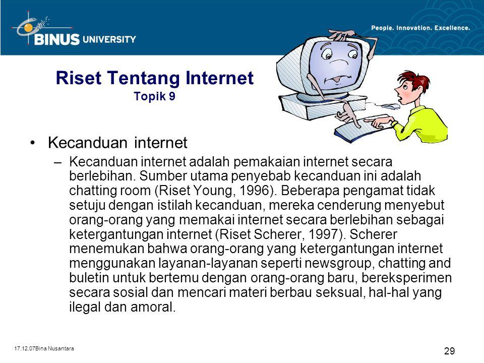 Riset Tentang Internet Topik 9